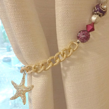 Beaded Curtain Tie Back, Purple Curtain Starfish Tieback, Starfish Room Decor, Coastal Window Decor, Beach House Decor, Window Treatments