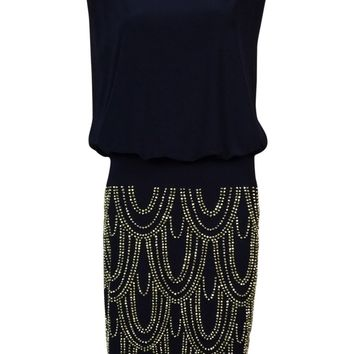 Betsy & Adam Women's Beaded Scalloped Blouson Dress (4, Navy/Gold)