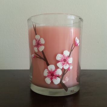 Cherry Blossom Candle, Handpainted Candle, Cherry Blossoms, Decorative Candle, Pink Candle