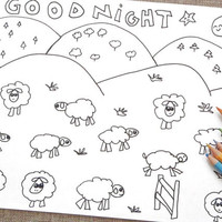 count the sheep kawaii coloring goodnight kids adult instant download colouring sheet anime food printable print digital pet lasoffittadiste