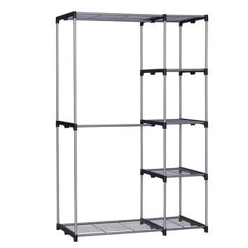 YOUUD Double Rod Closet Portable Wardrobe Storage Organizer Free-standing Sliver Garment Rack with Metal Tubes and Resin Frame