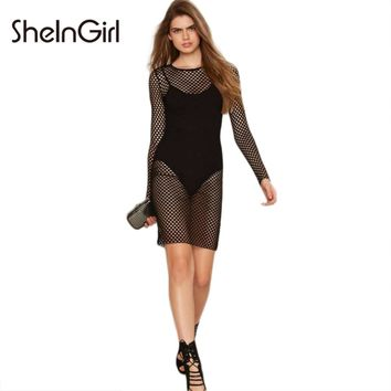 SheInGirl Solid Black Women Dress Long Sleeve Crew Neck Skinny Mini Vestidos Mesh Hollow Out Sheer Sexy Slim Bodycon Dress