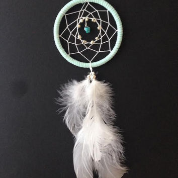 Dream Catcher for Car Mirror- Baby Blue, Turquoise Stone, White Feathers