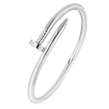 Silver Twisted Nail Fashion Bangle Bracelet