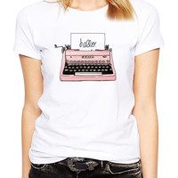 Pink Retro Typewriter Shirt - Pink Vintage Typing Machine - Writer - Vintage Typewriter - Book  Author - Antique Typewriter - Illustration