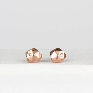 Solid Rose Gold and Diamond Stud Earrings, Micro Fragment Diamond Stud Earrings, Faceted Gold geometric studs, second hole earrings, edgy