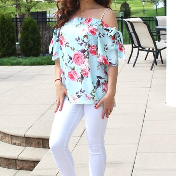 Tie Sleeve Floral Blouse