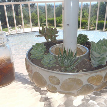 Succulent Umbrella Planter/ Natural River Rock/ Hand made by Feisty Farmers Wife