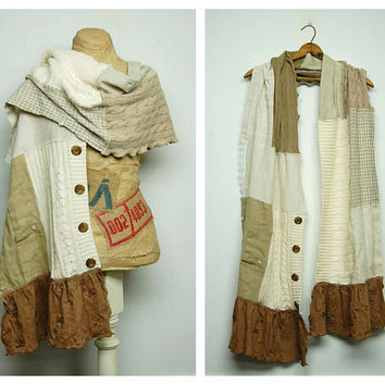 Scrappy Scarf Shabby Chic Scarf Mori Girl Scarf Oversized Scarf Patchwork Upcycled Scarf Anthropologie Style Scarf by Primitive Fringe