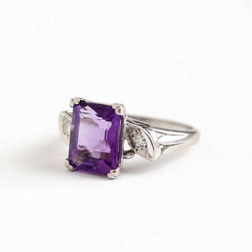 Vintage 14k White Gold Amethyst & Diamond Ring - Art Deco 1940s Size 6 2.90 CT Purple Gemstone Fine Statement Ring , Baden and Foss
