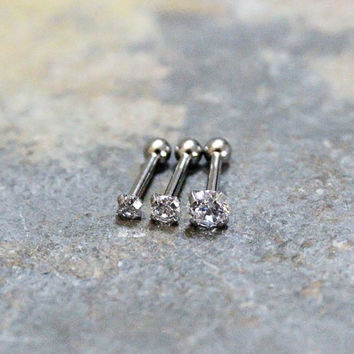 Swarovski Crystal Triple Helix Cartilage Earrings,Forward Helix,Internal Thread Prong Basket Setting,Surgical Steel Piercing Jewelry 16G,18G