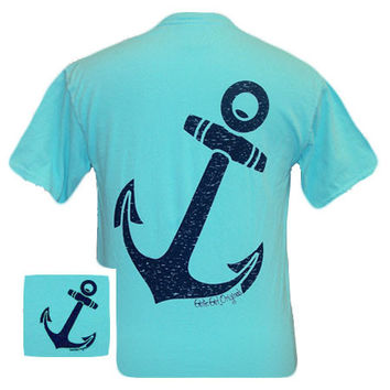 Girlie Girl Originals Vintage Anchor Comfort Colors Lagoon Blue Tee Bright T Shirt
