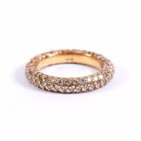 18k Yellow Gold 5-Row 2.00cts Round Cut Diamond Pave Eternity Ring Band Size 4.5
