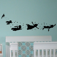 Peter Pan Children Flying Disney Silhouette Fantasy Fairytale Magic Tinkerbell- Wall Decals Nursery Decal For Kids Q023
