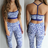 Blue Stone Spotted Active Wear Pants