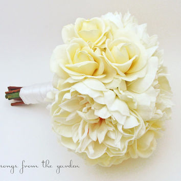 Silk Flower Bridal Bouquet Real Touch Roses and Peonies in Ivory - Customize for Your Colors