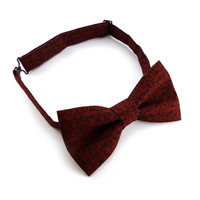 Pre tied adjustable bow tie mens –  damask vines print red wine and burgundy cotton – adult size - red damask bow tie