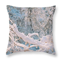 Blue Snow Pillow Cover, Winter Accent Pillow, Winter Snow Seat Cushion, Blue Throw Pillow, Winter Photo Art Home Decor, Snow Home Decor