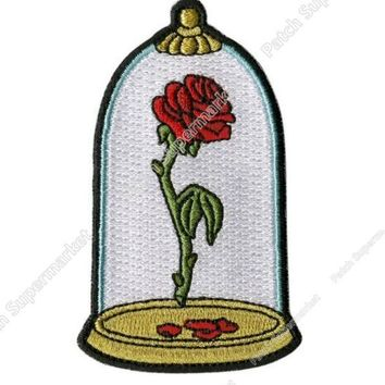 "3.5"" Beauty and The Beast Enchanted Rose in Dome Applique Patch Embroidered Iron On TV Moive series shirt tranfer girl kids"
