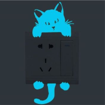 Blue light Luminous Switch Sticker Cartoon Wall Stickers Glow in the Dark home decor for Kid Room, Cat/Fairy/Lover Dog/Lover