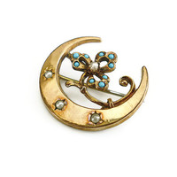 Victorian Brooch, Half Moon Flower, Seed Pearl, Turquoise Stone, Gold Filled, Antique Jewelry