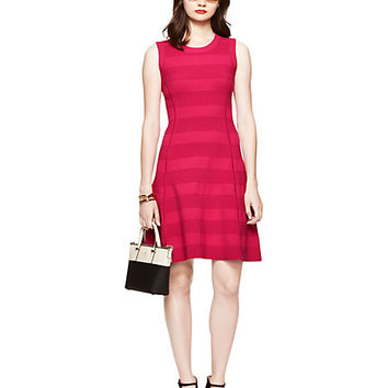 Kate Spade Textured Stripe Scuba Fit And Flare Dress Sweetheart Pink