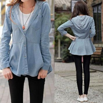 PEAPUG3 New Arrival Lady Women Girl Blue Hooded Outerwear Jacket Jean Shirt Blouse  SV006994