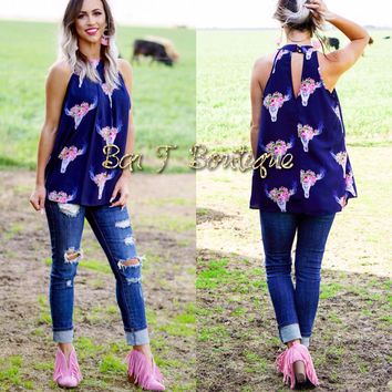 Miss Priss Floral Cow Skull Tank