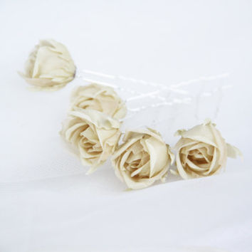 ivory silk flower pins, Bridal Hair Accessories, Bridal pins, Wedding Headbands, Rustic Wedding Hair Flower, Silk Flower Hair Pins