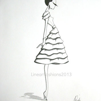 White Ruffles - fashion illustration - 1950s party dress art - original pencil drawing - gift