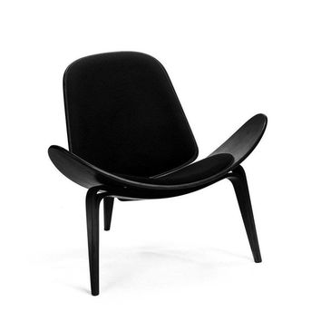 Mid Century Modern MCM Reproduction of Hans J. Wegner CH07 Black Shell Plywood Lounge Chair
