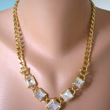 Statement Necklace, Wedding Jewelry, Vintage NAPIER Necklace, Bridal Jewelry, Rhinestone Necklace, Gold Bridal Choker, Chunky Gold Chain