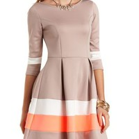 Color Block Striped Skater Dress by Charlotte Russe