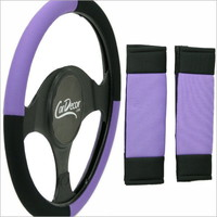 Mesh Purple Black Steering Wheel Cover 3 Pc Set