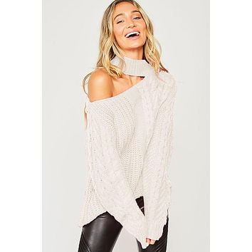 Free Sprited Cable knit Sweater
