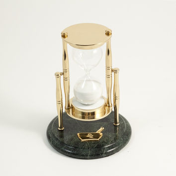 """30 Minute """"Pharma"""" Themed Brass and Green Marble Sand Timer."""