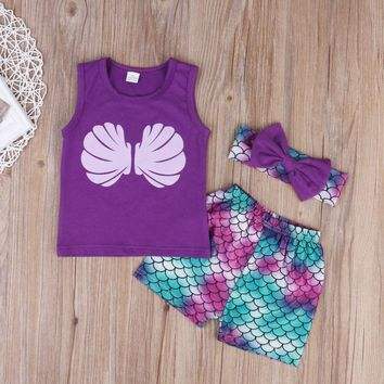 Girls Outfit 3PCS Mermaid Tank & Shorts Set