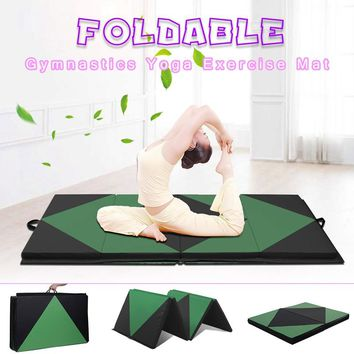 SGODDE Black & Green Sponge Folding Yoga Mat