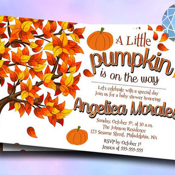 Pumpkin Shower Honoring Design For Digital File, Birthday Invitation by SaphireInvitations