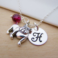 Bulldog / Dog Charm Swarovski Birthstone Initial Personalized Sterling Silver Necklace / Gift for Her
