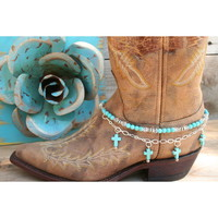 Boot Candy Boot Candy Naturals,  Turquoise Crosses