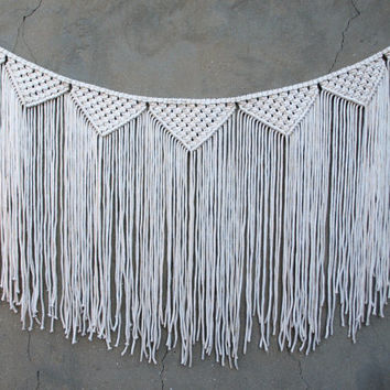 Macrame garland Boho bunting Large wall hanging Macrame banner Off-white wall decor Bohemian home decor Woven wall hanging Weaving wall art