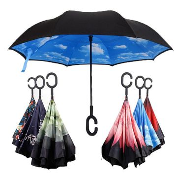 Travel Umbrella Strong Waterproof C Shape Double Layer Reverse Car Umbrella Open/Close In The Narrowest Space Creative Graphic