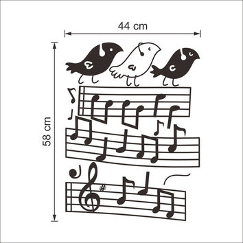 New Music Note Bird Pattern Wall Stickers Home Decor Decoration Art For Wall Removable Waterproof Black 38*57CM SM6