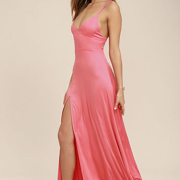 Bridgetown Beauty Coral Pink Maxi Dress