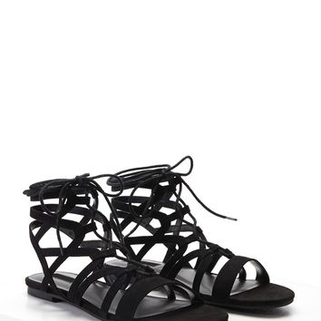 Faux Suede Lace-Up Sandals