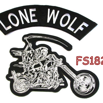 Lone Wolf plane Grim Reaper writing motorcycle Iron on Patch for Biker Vest FS182-4