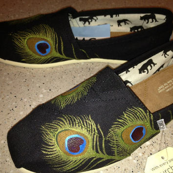 Custom TOMS- Peacock Feathers on Black- Shoes Included in Purchase