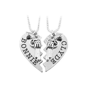 BONNIE CLYDE Best Friends BFF Necklace Broken 2 PCS Gun Puzzle Stitching Necklace Pistol Gold Silver plated Friendship Necklaces