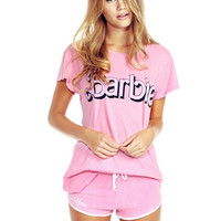 Barbie Pink Print Short Sleeve Graphic Tee T-Shirt
